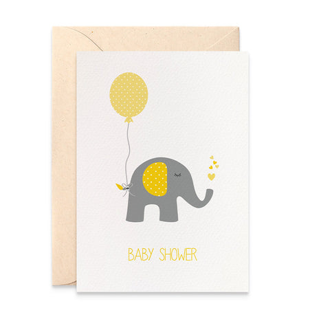 Baby Shower Yellow Elephant Greeting Card by mumandmehandmadedesigns- An Australian Online Stationery and Card Shop