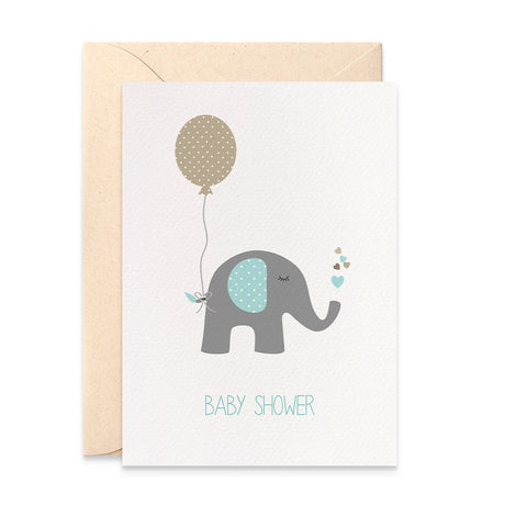 Baby Shower Blue Elephant Greeting Card by mumandmehandmadedesigns- An Australian Online Stationery and Card Shop