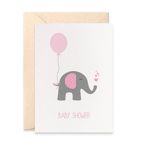 Baby Shower Pink Elephant Greeting Card by mumandmehandmadedesigns- An Australian Online Stationery and Card Shop