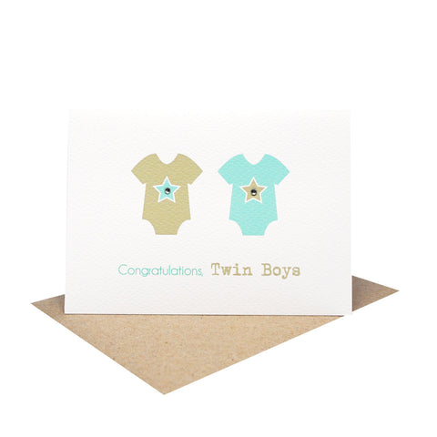 Baby Rompers with Stars-Greeting Card-mumandmehandmadedesigns