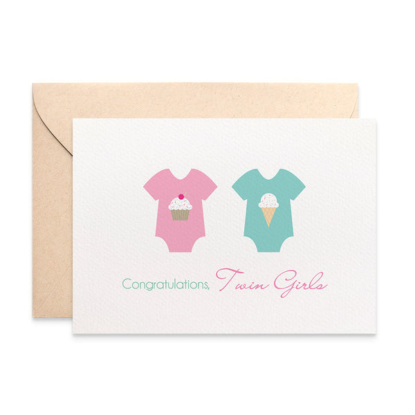 Twin Girls Baby Rompers Greeting Card by mumandmehandmadedesigns- An Australian Online Stationery and Card Shop