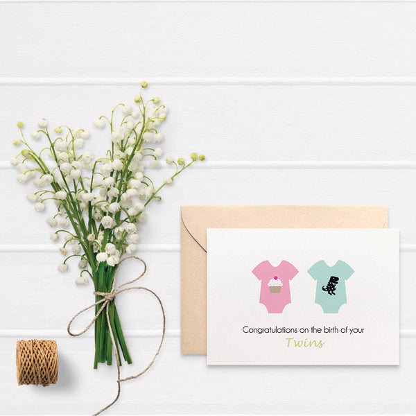 Baby Rompers Boy + Girl Greeting Card by mumandmehandmadedesigns- An Australian Online Stationery and Card Shop