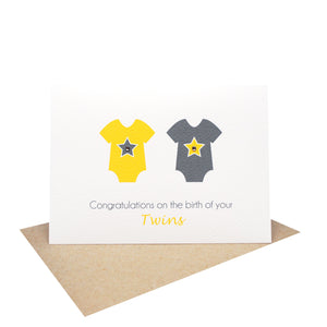 Twin Neutral Baby Rompers Greeting Card by mumandmehandmadedesigns- An Australian Online Stationery and Card Shop