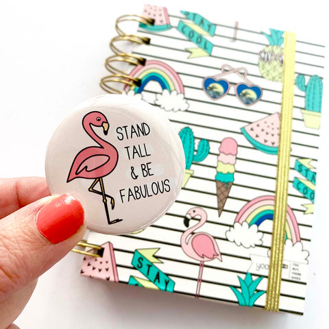Badge - Flamingo Badge by mumandmehandmadedesigns- An Australian Online Stationery and Card Shop