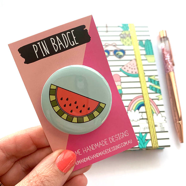 Badge - Watermelon Badge by mumandmehandmadedesigns- An Australian Online Stationery and Card Shop