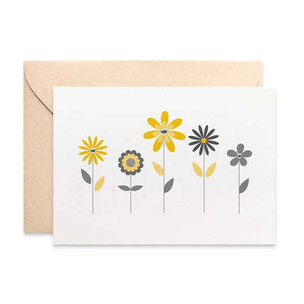 Yellow and Grey Flowers Greeting Card by mumandmehandmadedesigns- An Australian Online Stationery and Card Shop