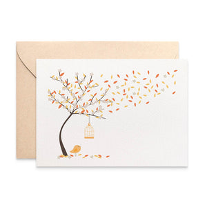 Autumn Tree with Birdcage Greeting Card by mumandmehandmadedesigns- An Australian Online Stationery and Card Shop