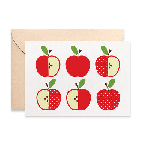 Red Polkadot Apples Greeting Card by mumandmehandmadedesigns- An Australian Online Stationery and Card Shop