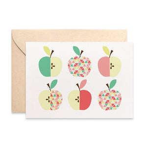 Apples Geometric Greeting Card by mumandmehandmadedesigns- An Australian Online Stationery and Card Shop