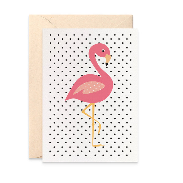 Pink Flamingo - Spotty Greeting Card by mumandmehandmadedesigns- An Australian Online Stationery and Card Shop