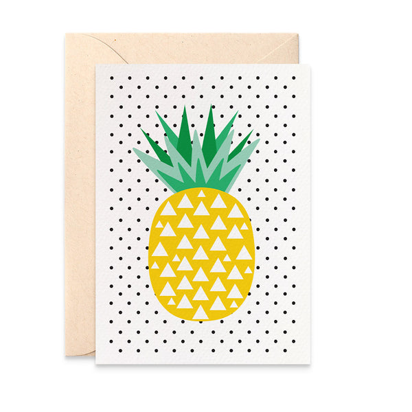 Geometric Pineapple - Spotty Greeting Card by mumandmehandmadedesigns- An Australian Online Stationery and Card Shop