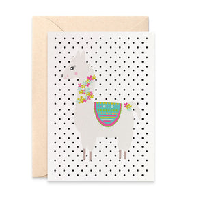 Llama Blank Card Greeting Card by mumandmehandmadedesigns- An Australian Online Stationery and Card Shop