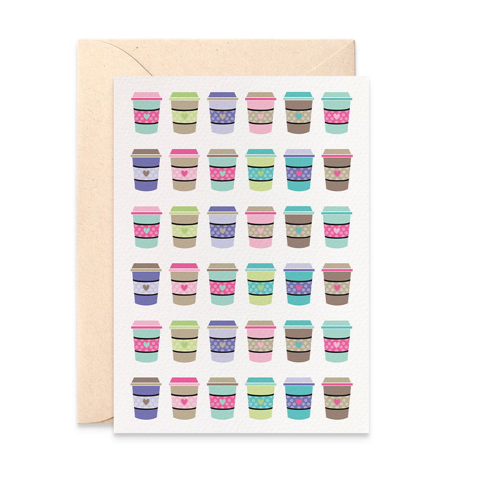 Coffee Cups Greeting Card by mumandmehandmadedesigns- An Australian Online Stationery and Card Shop