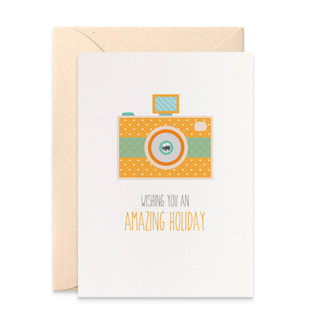Orange Camera Greeting Card by mumandmehandmadedesigns- An Australian Online Stationery and Card Shop