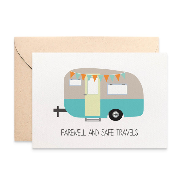 Caravan Camper Farewell Greeting Card by mumandmehandmadedesigns- An Australian Online Stationery and Card Shop