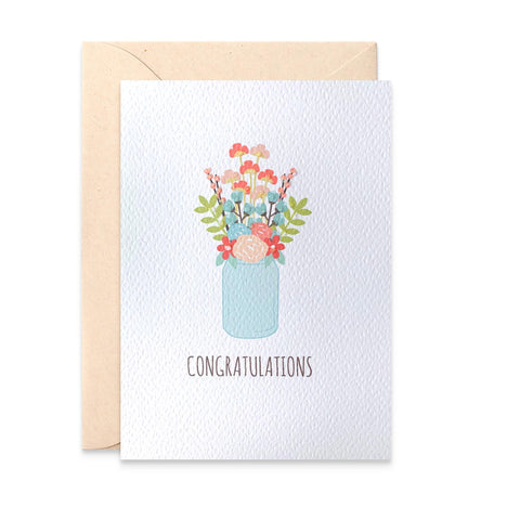 Congrats Flowers in Mason Jar Greeting Card by mumandmehandmadedesigns- An Australian Online Stationery and Card Shop