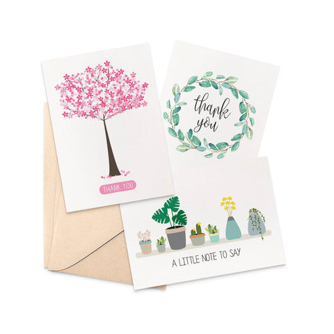 Set of 3 - Thank You Greeting Cards by mumandmehandmadedesigns- An Australian Online Stationery and Card Shop