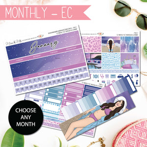 Monthly Kit EC: Moon Beach-Planner Stickers by Mum and Me Handmade Designs - An Australian Online Stationery, Planner Stickers and Card Shop