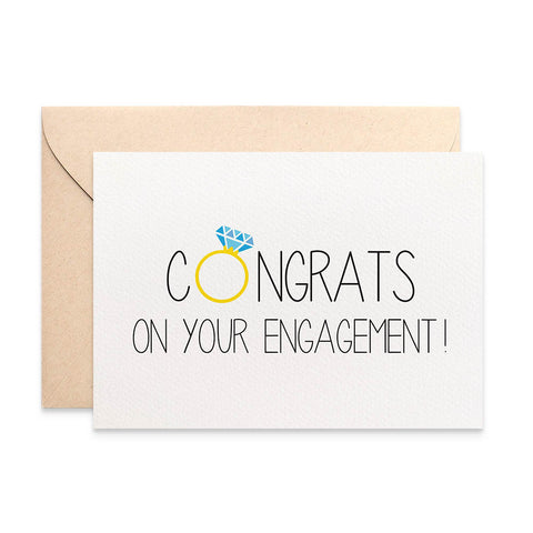 Congrats with Diamond Ring Greeting Card by mumandmehandmadedesigns- An Australian Online Stationery and Card Shop