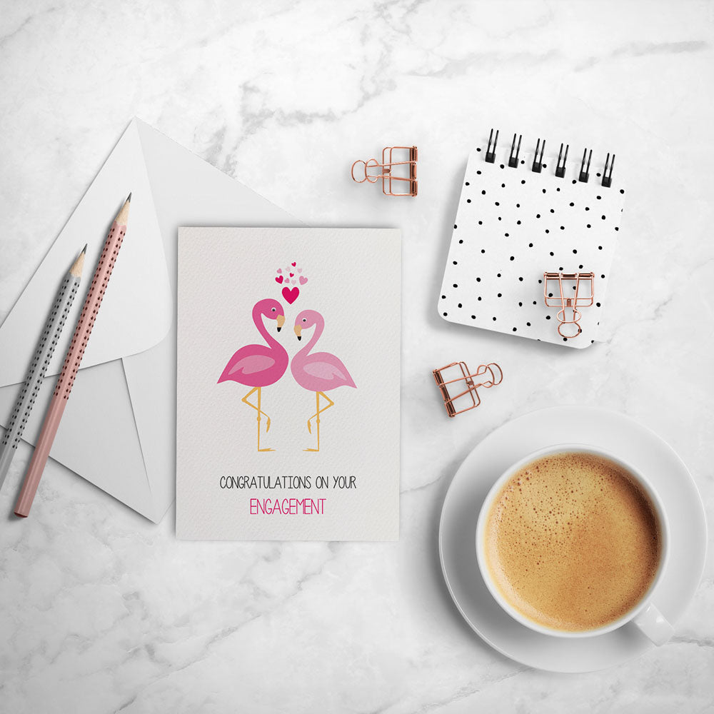 Engagement card 2 flamingos with love hearts mum and me engagement 2 flamingos greeting card by mumandmehandmadedesigns an australian online stationery and card shop kristyandbryce Choice Image