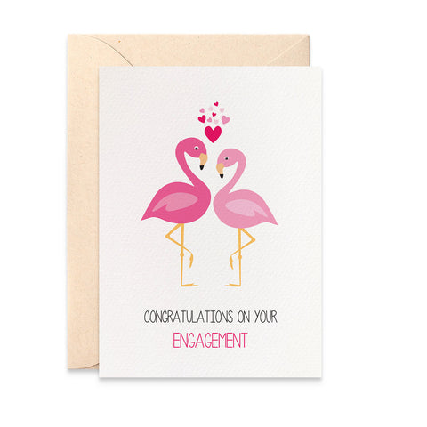 Engagement 2 Flamingos Greeting Card by mumandmehandmadedesigns- An Australian Online Stationery and Card Shop