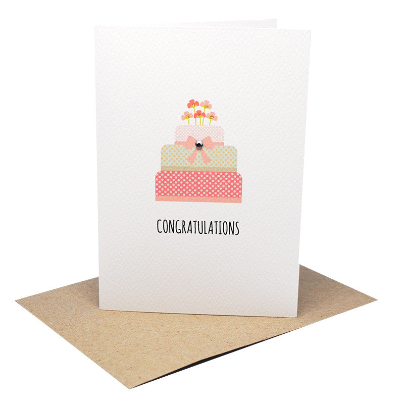 Engagement Cake Greeting Card by mumandmehandmadedesigns- An Australian Online Stationery and Card Shop