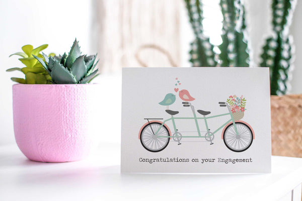 Engagement - Tandem Bike Greeting Card by mumandmehandmadedesigns- An Australian Online Stationery and Card Shop