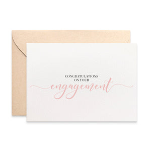 Engagement Blush Script Greeting Card by mumandmehandmadedesigns- An Australian Online Stationery and Card Shop