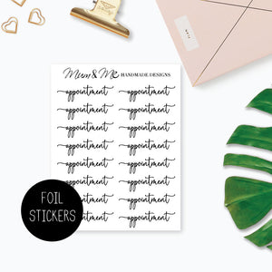 Foiled Script - Appointment Planner Stickers by mumandmehandmadedesigns- An Australian Online Stationery and Card Shop