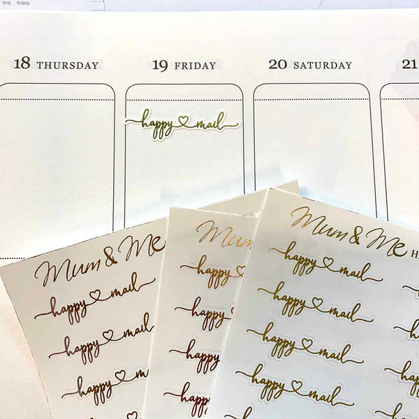 Foiled Script - Happy Mail-Planner Stickers by Mum and Me Handmade Designs - An Australian Online Stationery, Planner Stickers and Card Shop