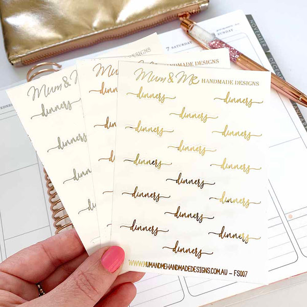 Foiled Script - Dinners-Planner Stickers by Mum and Me Handmade Designs - An Australian Online Stationery, Planner Stickers and Card Shop