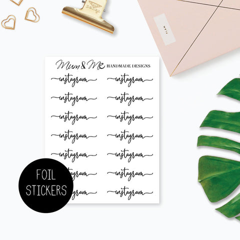 Foiled Script - Socials Planner Stickers by mumandmehandmadedesigns- An Australian Online Stationery and Card Shop