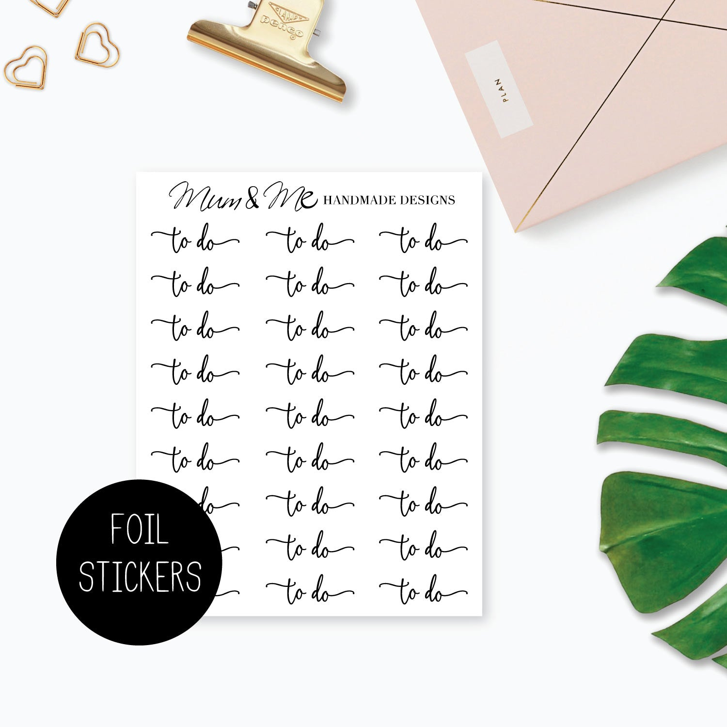 Foiled Script - To Do-Planner Stickers by Mum and Me Handmade Designs - An Australian Online Stationery, Planner Stickers and Card Shop