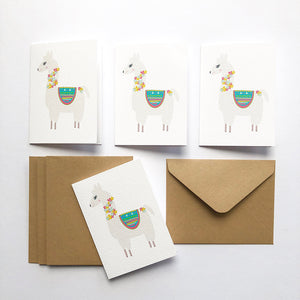Set of 4 - Mini - Llama Mini Gift Cards by mumandmehandmadedesigns- An Australian Online Stationery and Card Shop