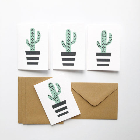 Set of 4 - Mini - Cactus Mini Gift Cards by mumandmehandmadedesigns- An Australian Online Stationery and Card Shop