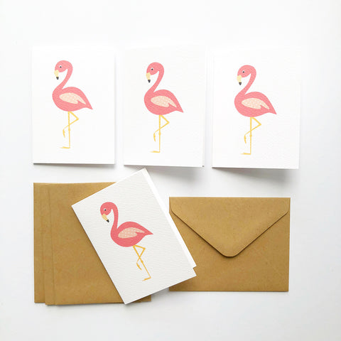 Set of 4 - Mini - Flamingo Mini Gift Cards by mumandmehandmadedesigns- An Australian Online Stationery and Card Shop