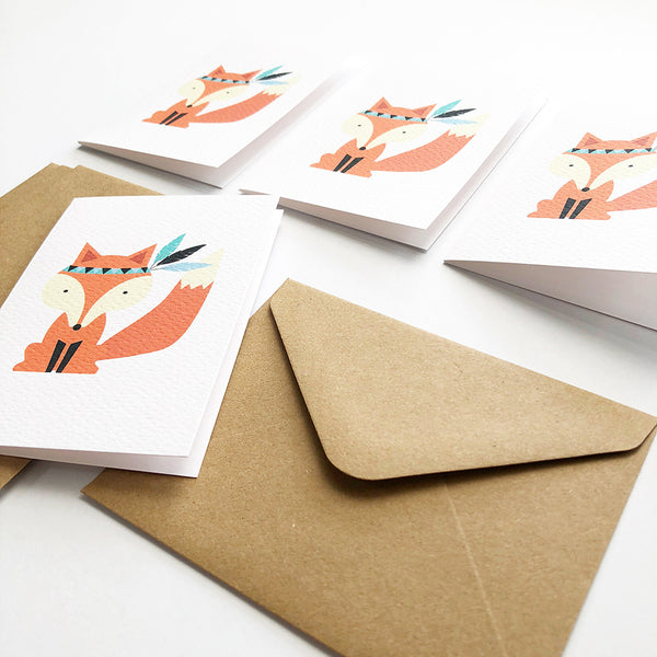 Set of 4 - Mini - Fox Mini Gift Cards by mumandmehandmadedesigns- An Australian Online Stationery and Card Shop
