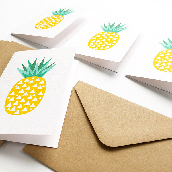 Set of 4 - Mini - Pineapples Mini Gift Cards by mumandmehandmadedesigns- An Australian Online Stationery and Card Shop