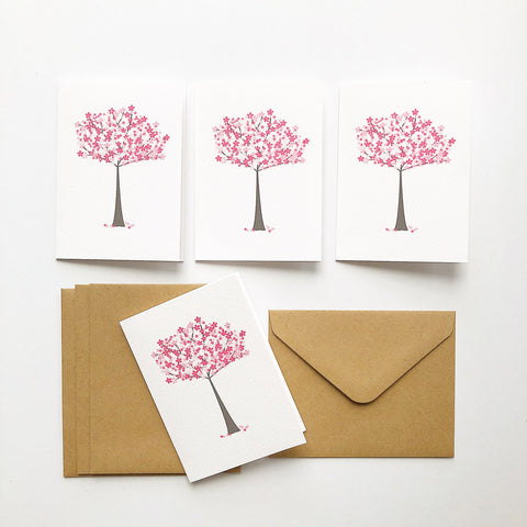 Set of 4 - Mini - Cherry Blossom Mini Gift Cards by mumandmehandmadedesigns- An Australian Online Stationery and Card Shop
