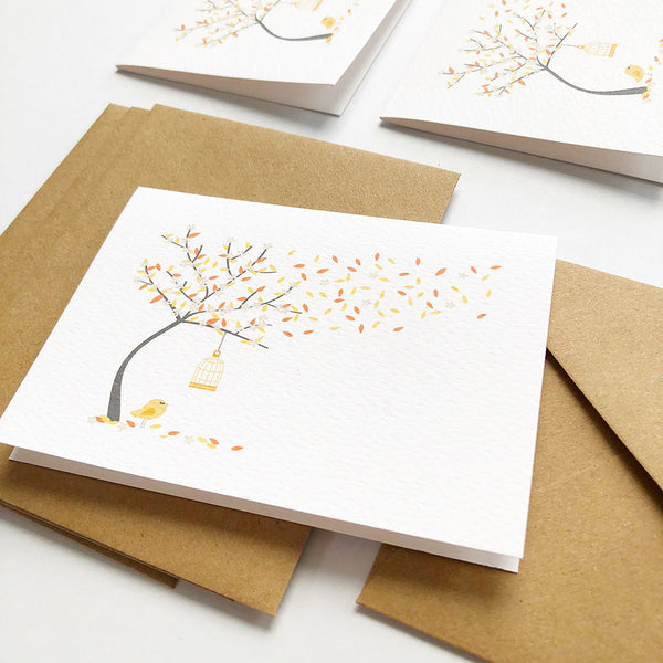 Set of 4 - Mini - Autumn Tree Mini Gift Cards by mumandmehandmadedesigns- An Australian Online Stationery and Card Shop