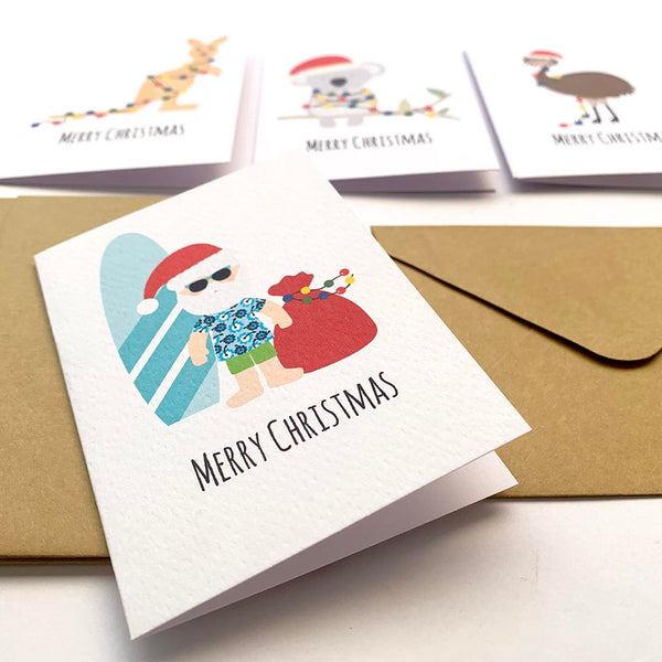 Set of 4 - Mini - Aussie Christmas Mini Gift Cards by mumandmehandmadedesigns- An Australian Online Stationery and Card Shop