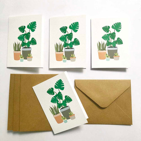 Set of 4 - Mini - Indoor Plants Mini Gift Cards by mumandmehandmadedesigns- An Australian Online Stationery and Card Shop