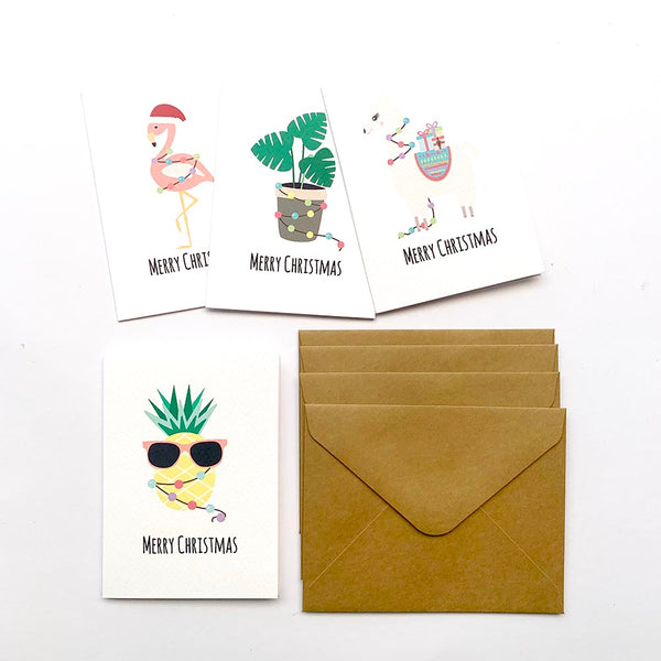 Set of 4 - Mini - Fun Christmas Mini Gift Cards by mumandmehandmadedesigns- An Australian Online Stationery and Card Shop