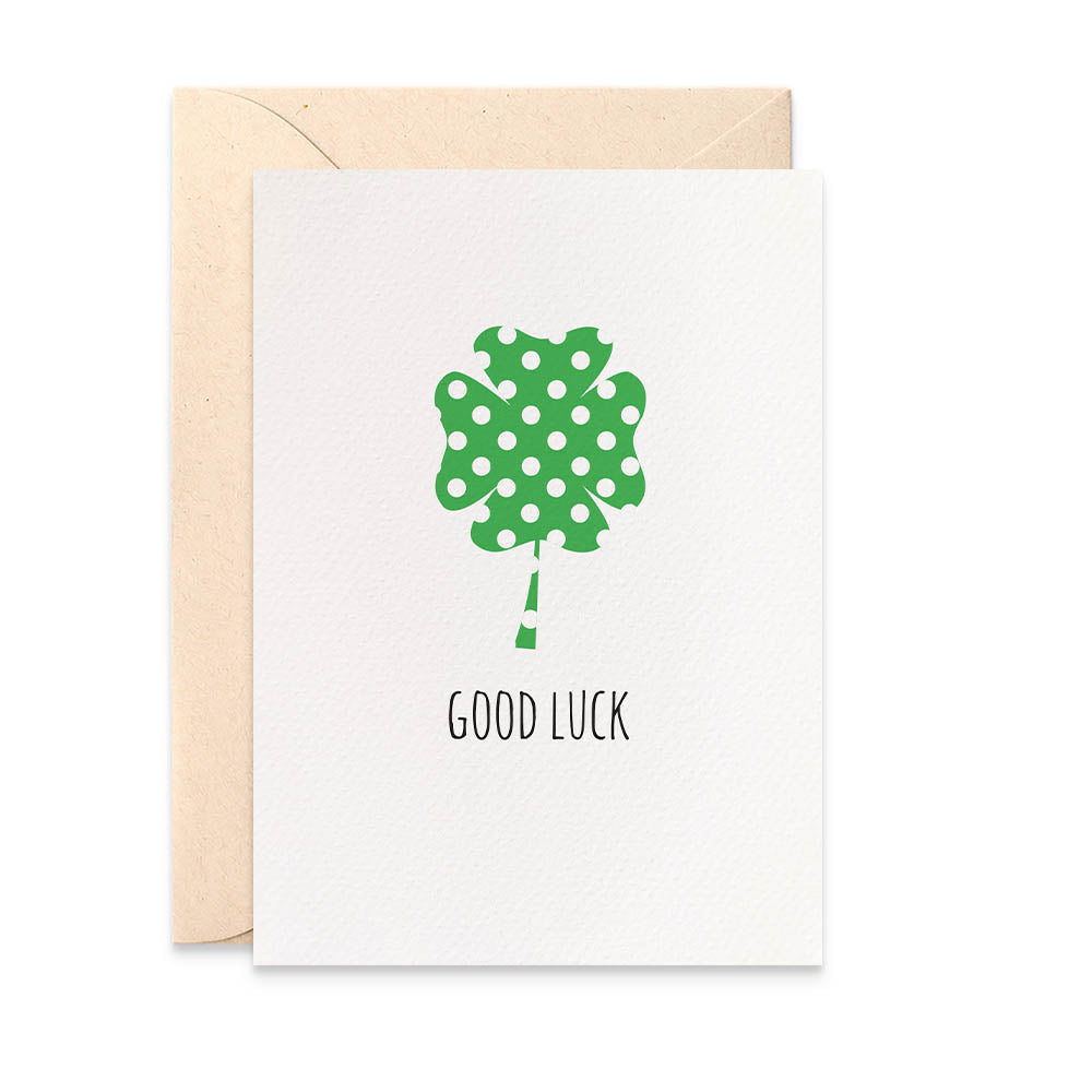 Lucky Four Leaf Clover Greeting Card by mumandmehandmadedesigns- An Australian Online Stationery and Card Shop