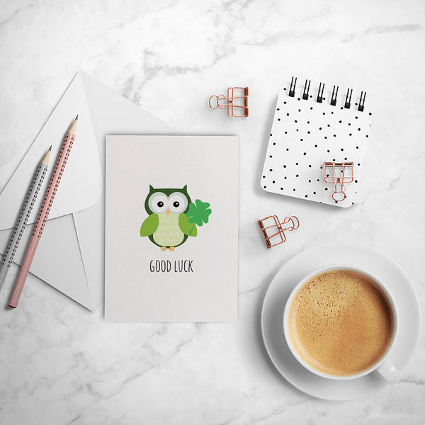 Green Lucky Owl Greeting Card by mumandmehandmadedesigns- An Australian Online Stationery and Card Shop