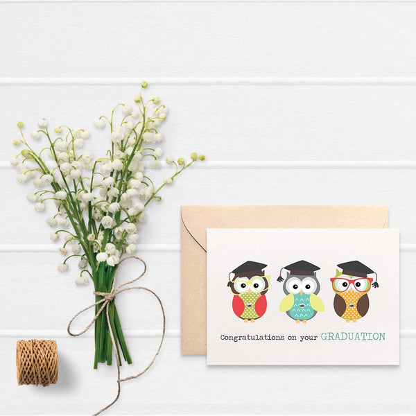 3 Graduation Owls Greeting Card by mumandmehandmadedesigns- An Australian Online Stationery and Card Shop