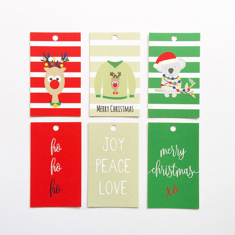 Set of 6 Xmas Gift Tags Gift Tags by mumandmehandmadedesigns- An Australian Online Stationery and Card Shop