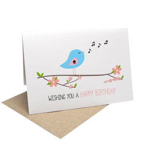 Singing Birdie with Flowers Greeting Card by mumandmehandmadedesigns- An Australian Online Stationery and Card Shop
