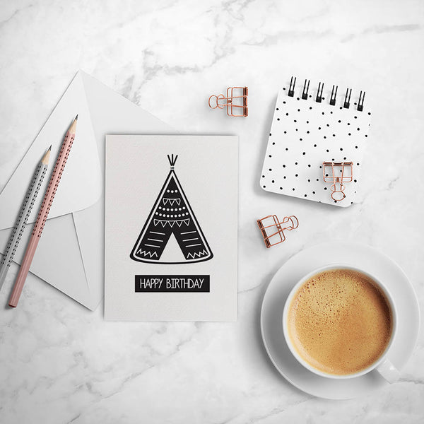 Teepee Monochrome Greeting Card by mumandmehandmadedesigns- An Australian Online Stationery and Card Shop