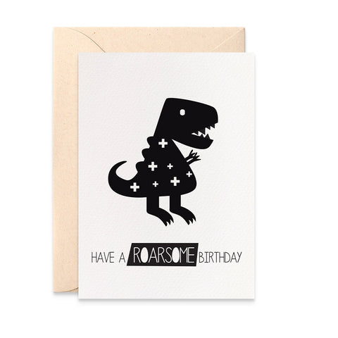 Monochrome Dinosaur Greeting Card by mumandmehandmadedesigns- An Australian Online Stationery and Card Shop